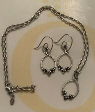 VHTF RETIRED PANDORA 14K SS FLORAL COMPOSE EARRINGS & HOOKS, PENDANT W/NECKLACE