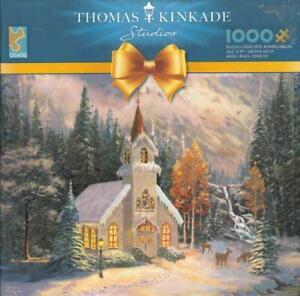 Thomas Kinkade 1000 Pc Jigsaw Puzzle Deer Creek Chapel NIB