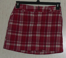 EXCELLENT WOMENS ST. JOHN'S BAY petite stretch RED PLAID SKORT  SIZE 4P