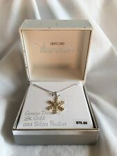 New Genuine Diamond 18K Gold Over Silver 2-Tone Snowflake Pendant Necklace