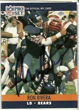 1990 NFL Pro Set RON RIVERA Signed Card Lambeau Field PANTHERS BEARS SUPER BOWL