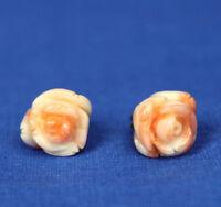 Vintage Pink Angleskin Coral Carved Flower Bud Earrings 10mm size GF Posts