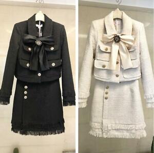 Womens Designer Luxury Bowknot Tweed Wool Jacket A Line Skirt 2Pcs Slim Fit Suit