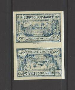 COSTA RICA OLYMPIC GAMES, TETE BECHE PAIR, Sc B4a IMPERF MLH 1924