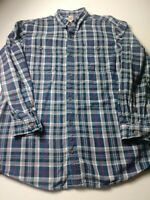 Duluth Trading Co Mens Plaid Flannel Shirt Sz L Tall Blue Long Sleeve Button Up