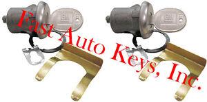 NEW PAIR GM CHEVROLET OEM DOOR LOCK KEYED CYLINDER W/2 OEM GM LOGO KEYS TO MATCH