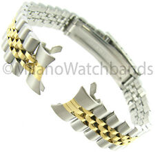 13mm Gilden Two Tone Metal Deployment Buckle Curved End Ladies Watch Band 1048