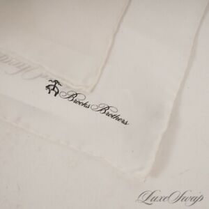 NWT #1 MENSWEAR Brooks Brothers Solid Pearl White Hand Rolled Silk Pocket Square