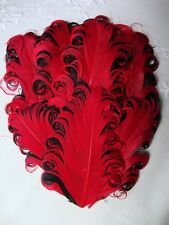 Red on Black Goose Nagorie Feathers, Feather Pad     US Seller
