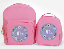 Bright Star Kids Personalised Matching Backpack and Lunch Bag - Floral