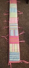 Pottery Barn Kids crib bumper pad multi colored striped w/ pink back & tabs Vguc