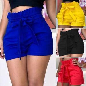 Women's Shorts Hot Pants Ruffle Belted Beach Short Trousers Plus Size Summer