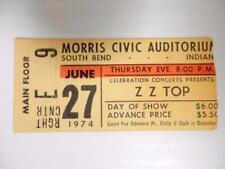 Vintage 1974 Zz Top Concert Ticket, Morris Civic Aud, South Bend, Indiana, #E6