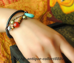 Thai Style Optimizing Turquoise/Copper Small Bell/Red Agate/Wood Beads Bracelet