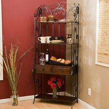 Bakers Rack With Drawers Storage Racks For Kitchen Wrought Iron Wood