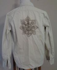 "Abercrombie & Fitch Size S 100% Cotton Tan Twill ""Distressed"" Shirt Embroidered"