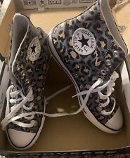 Converse All Star Womens Gray High Top Leopard Print Chuck Taylor 70 Shoes Sz 1