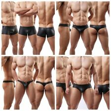 3 Pack Sexy Black Mens Briefs Faux Leather Underwear Lingerie Gay Bikinis Shorts