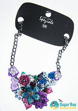 MARKS and SPENCER  per Una  Speziale Purple Mix Enameled Floral Necklace