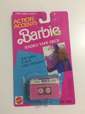 NIP Mattel 1989 Barbie Action Accents Wind Up Radio Tape Deck Boombox 80s Toy
