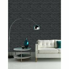 Arthouse VIP Black Brick Wall Photographic Stone Effect Wallpaper 623007