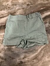 Janie And Jack Green White Striped Seersucker Bow Front Elastic Size 12-18 Month