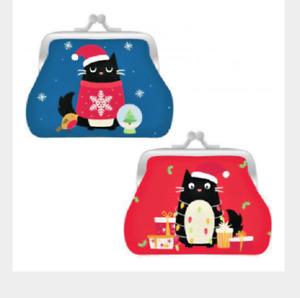 Feline Festive Cat Design Coin Purse Xmas Novelty Secret Santa Gift