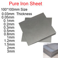 99.995% Pure Iron Sheet Plate Panel 100*100mm Thick 0.5 0.8 1 1.2 1.5 2 3mm