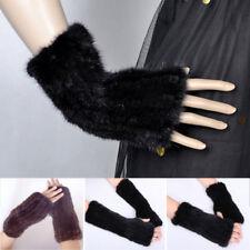 Chic Gants Tricoté Mitaines Fourrure Vraie Vison Elastique Elégant Cadeau Noir