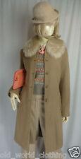 Vintage Beige Camel Tan NOA NOA Wool Tweed Jacket Blazer Coat UK 8 US 2 XS S