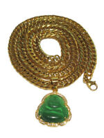 Men's Gold Plated Green JADE ICED Buddha pendant with 8mm Thick Cuban Chain