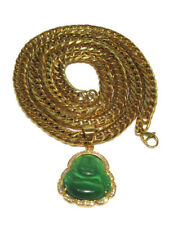 Green JADE ICED Buddha Men's Gold Plated pendant with 8mm Thick Cuban Chain