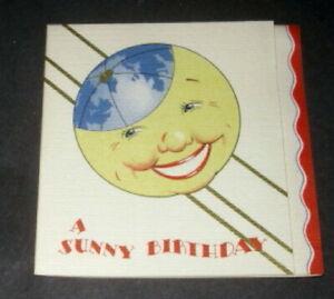 Vtg 1950s GB sunny birthday card, sun globe, unused