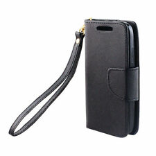 For SAMSUNG Galaxy S6 EDGE BLACK STRAP WALLET LEATHER SKIN ACCESSORY COVER CASE