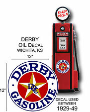 """12"""" 1929-49 DERBY WHITE GASOLINE VINYL DECAL OIL CAN / GAS PUMP / LUBSTER"""