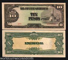 PHILIPPINES 10 PESOS P111 1943 Lot WORLD WAR JIM UNC JAPAN BUNDLE MONEY 100 NOTE