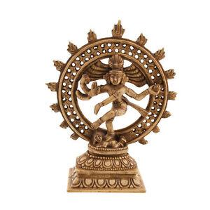 Statue Hindoue de Shiva Nataraja Dansante Antique en Resine Hindouisme 4655