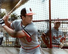 CAL RIPKEN  JR WITH CAL SR WATCHING ON ORIOLES CLASSIC COLOR photo 8 x10 ! !