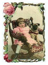 PUG CHARMING DOG GREETINGS NOTE CARD CUTE LITTLE GIRL AND DOG SIT IN CHAIR