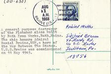 1 AUGUST 1968 USS BRAINE DD 630 US DESTROYER CARD