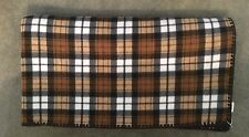 "Extra Large but Light-Weight  Fleece Afghan, Home Crafted, Plaid, 56""x64"""