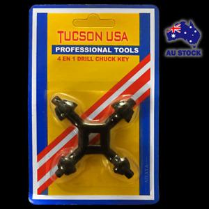 """4 In 1 1/4"""" 3/8"""" 1/2"""" 5/8"""" Drill Chuck Key Steel Universal Drill Press 4 Way Key"""