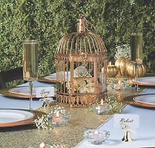 Distressed WEDDING Centerpiece Gold Metal Decorative Birdcage hinged lid & door