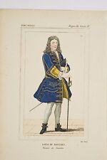 Gravure XIX° Costume Historique règne Louis XV L du Bouchet Marquis de Sourches