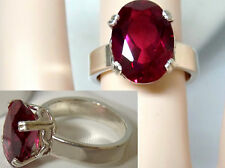 8ct red ruby 925 sterling silver ring 4mm wide band size 7.5 USA made
