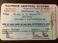 1936-37 Illinois Central Railroad Company railroad pass