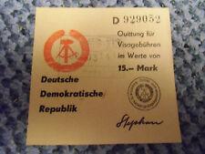 DDR  Quittung für Visagebühren , gestempelt ,kaum noch vorhanden