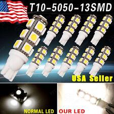 10 X Warm White 13SMD 5050 T10 Reverse LED Lights W5W 2825 158 192 168 12V US