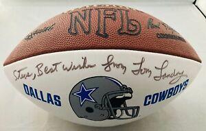 Tom Landry Signed Football Dallas Cowboys HOF NFL Autographed NFC Coach