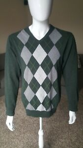 Men's Old Navy Long sleeve Rhombus print V Neck Green Sweater size L Pre-owned